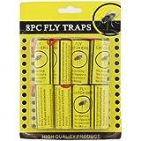 AMOS Lot de 8 mouches pièges à insectes Bug Wasp Catcher-rouleaux de Papier collant sans Poison réception de racleurs Piège Set & punaises