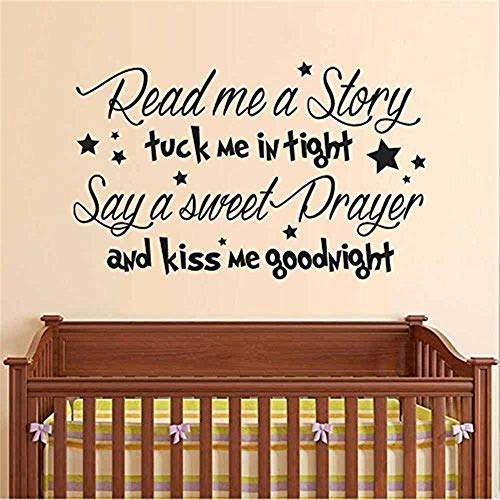 wandaufkleber selbst gestalten Lesen Sie mich eine Geschichte Wandtattoo - Baby Kindergarten Gedicht - Kiss Me Goodnight Zitat Gebet Vinyl Wand Zitat Mädchen junge Kinderzimmer Schlafzimmer Dekor