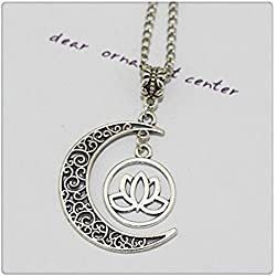 Plata collar de luna plata lotus Collar con Colgante, collar de yoga, flor de loto collar, collar Espiritual