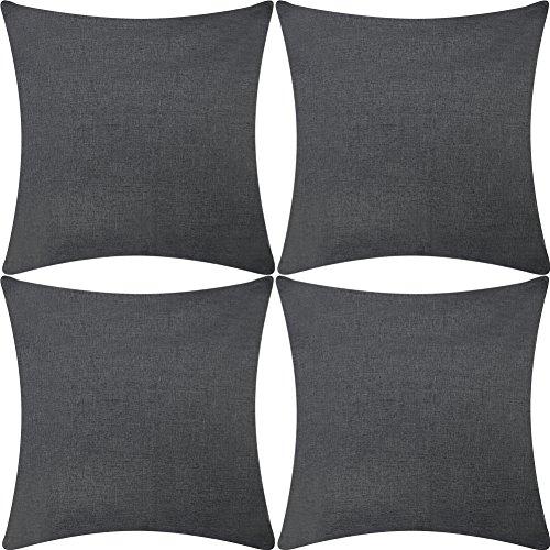 DEZENE 4er Set Linen Kissenhülle/Kissenbezug 45x45 cm in Grau für Kissen, Sofakissen/Sofa Kissen und Dekokissen/Deko Kissen aus der Linie Decor Chic