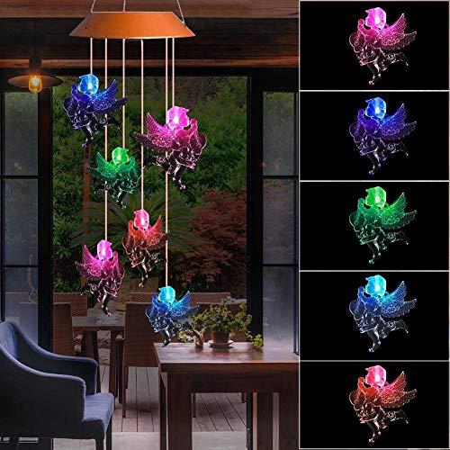 happygirr Farbwechselnde LED-Mobile Solar-Windspiele, solarbetriebene LED-Nachtlicht-Wasserdichte Windspiele für Outdoor-Garten Party Weihnachtsdekoration -
