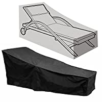 "Ymwave Sun Lounger Cover Lounge Chair Cover Sunbed Cover Waterproof Outdoor Garden Patio Furniture Cover with a Carry Bag,Black,82""*30""*16""/31"""
