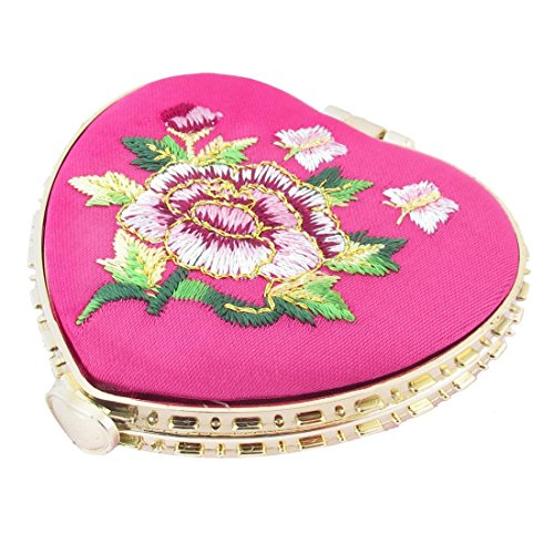 Kompakter Spiegel - TOOGOO(R) Herzfoermig Gestickte Blumen Mini Taschenspiegel Schminken Kosmetik Rose rot (Rote Gestickte Rosen)