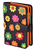 Visconti Twofold Leder Damen Geldbörse Daisy Multicolor Floral Purse(DS82) RFID: