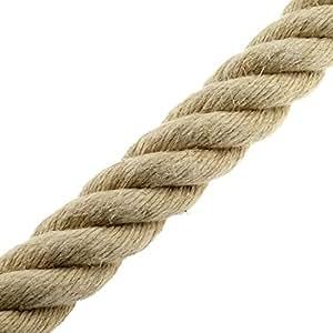 Hanfseil 10mm Meterware 4-Litzig gedreht glattes und helles Garn, polierte Qualität Natur Seil Rope