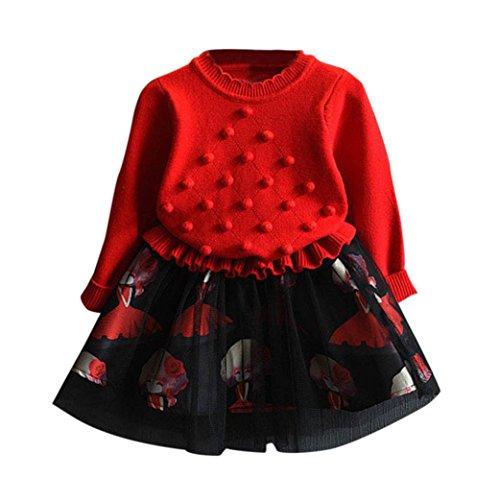 OVERDOSE Kinder Baby Mädchen Strickpullover Winter Kleidung Crochet Pullover Patchwork Gestrickt Kleid Weihnachten Party Kleid(2-3T/90CM,A-Rot)