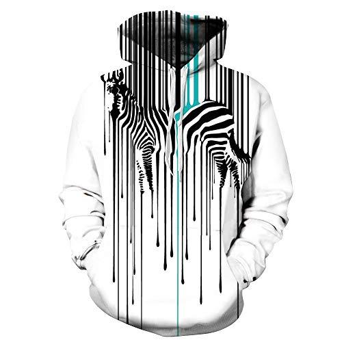 YZFZYLW Unisex Persönlichkeit Druck Hoodie Mode Zebra Muster Lose Langarm-Sweatshirt, Bild, XXXL