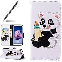 Uposao Handyhülle für Huawei P Smart Handy Tasche Bunt 3D Muster Brieftasche Ledertasche Klapphülle Leder Flip Case Cover Klappbar Lederhülle mit Kartenfach,Panda Flasche