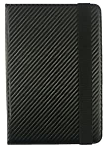Emartbuy® PU Leather Multi Angle Executive Folio Wallet Cover for Shrit Sh-0012 (Size 7 inch_Black Carbon)