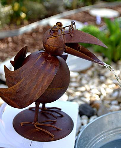 Wasserspeier - lustiger stabiler Wasserspeier mit Pumpe für den Teich, Höhe 23 cm - robuste Ausführung, Metall