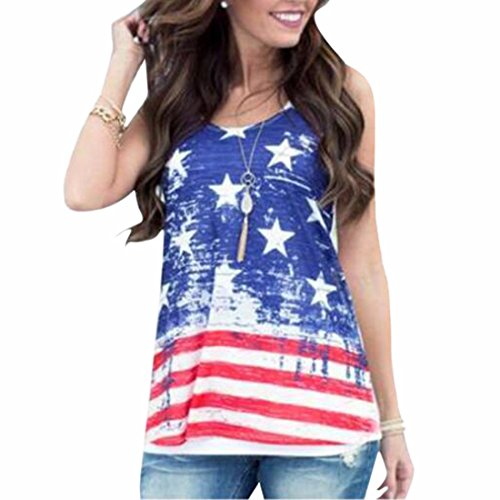 QIYUN.Z Frauen V-Ausschnitt Kurzarm Stars And Stripes Flagge Arthemden Druck Sommer-T-Shirts (Stars Stripes-flagge And)