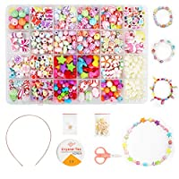 Ucradle Children DIY Bead Set, 500pcs Pony Alphabet Pop Beads for Making Necklace Bracelet Ring, Art Craft & Jewellery Making Kit for Kids Girls Age 4 5 6 7 8, 24 Types