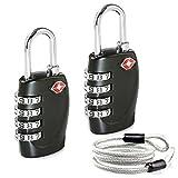 Aspen Amélioré 2 x TSA Cadenas 4-nombre Combinaison Voyage Valise bagages Code de sac Lock ( Noir ) - GARANTIE À VIE avec Câble de Sécurité 100cm