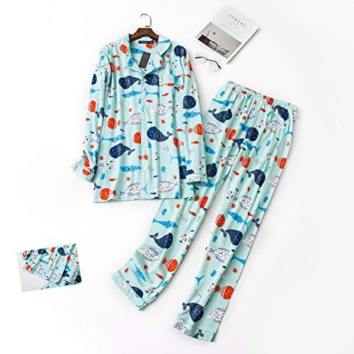 HIUGHJ Pyjamas Frauen 100% gebürstete Baumwolle Pyjamas Sets weiblichen niedlichen Cartoon Fisch Frühling Langhülse Nachtwäsche Pyjamas Frauen (Hose Gebürstete Baumwolle Pyjama)