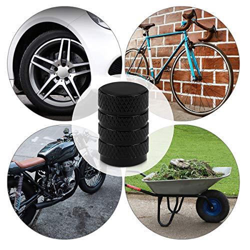 5in1 Set: kwmobile Ventilkappen in Schwarz – Metall Kappen für Auto Motorrad Fahrrad Reifen Ventile - 5