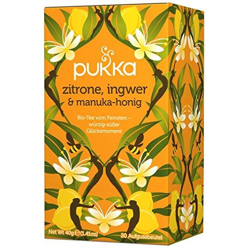 PUKKA Bio Zitrone, Ingwer & Manuka-Honig Tee, 1er Pack (20 x 2,0 g Teebeutel) - BIO -