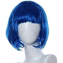 Ularma Peluca de Masquerade, rodillo pequeño Bang corta el pelo lacio (azul)