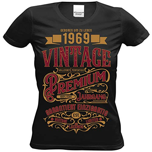 Damen T-Shirt als Geschenk 50 Geburtstag Frauen - Premium Vintage 1969 - Geburtstagsgeschenk für Sie Set Urkunde + Girlie Shirt in schwarz Gr: XXL