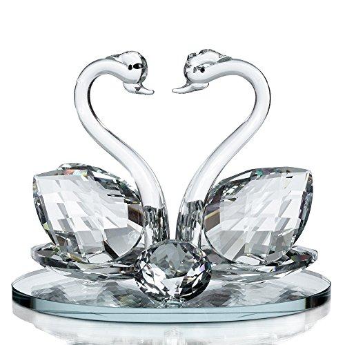 London Boutique Großer Deko Kristall Glas Tier Double Swan Modell mit Swarovski Kristall Elements Geschenkartikel Geschenk (1Stück) (Element-modells)