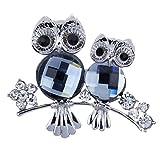 Yazilind Women Fancy Gray Crystal Rhineston Flora Flower Owl Pin Silver Brooch Jewelry Ideal Gift