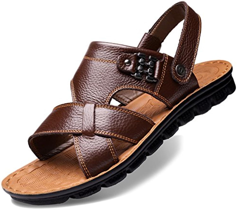 Männer Sandalen Aus Echtem Leder Weiche Grundlage Beiläufige Offene Zehe Hausschuhe Sommer Strand Sandalen Plus