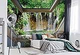 Wasserfall 3D-Dachfenster-Ansicht Vlies Fototapete Fotomural - Wandbild - Tapete - 104cm x 70.5cm / 1 Teilig - Gedrückt auf 130gsm Vlies - 10408VEM - Seen und Wasserfälle