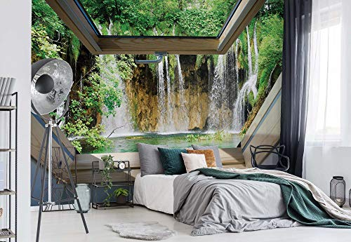 fototapete dachfenster Wasserfall 3D-Dachfenster-Ansicht Vlies Fototapete Fotomural - Wandbild - Tapete - 104cm x 70.5cm / 1 Teilig - Gedrückt auf 130gsm Vlies - 10408VEM - Seen und Wasserfälle
