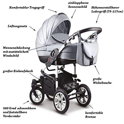"""16 teiliges Qualitäts-Kinderwagenset 3 in 1 Mikado """"COSMO"""": Kinderwagen + Buggy + Autokindersitz + Schwenkräder – Mega-Ausstattung – all inclusive Paket in Farbe (C-37) PINK-SCHWARZ-WEISS"""