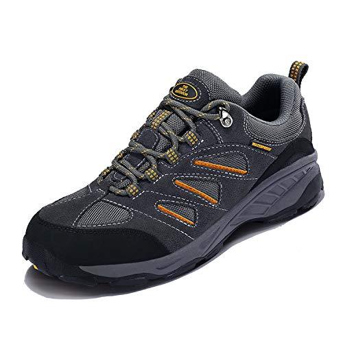TFO Herren Trekking & Wanderschuhe Wasserabweisende und Atmungsaktive Outdoor Schuhe mit Rutschfester Sohle (Männer Hellgrau, 43 EU)