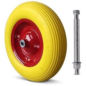 Schubkarrenrad PU 4.80/4.00-8 400 mm + Achse - Vollgummi Reifen Ersatzrad