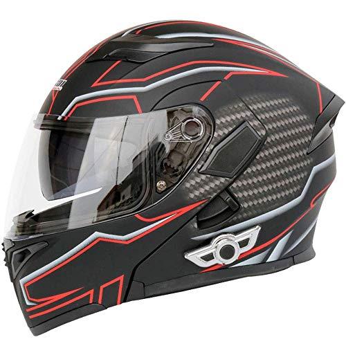 Fire wolf: casco da moto Outdoor Motorcycle Helmet Smart Bluetooth Headset Helmet Double Lens Open Face Helmet Equipaggiamento protettivo: A (XXL, 24.80in-25.19in)