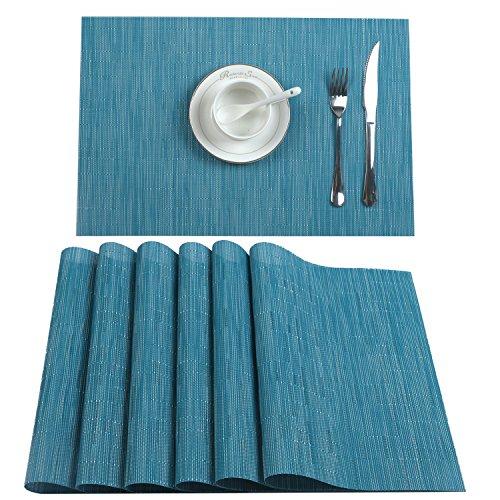 U'Artlines 6er Set Tischsets Waschbare Platzsets Rutschsicher Hitzebeständig Platzdeckchen-45 * 30cm(Silber-Grau) (6er...