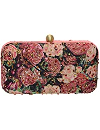 Fabric And Lace Handicraft Party Wear Hand Embroidered Box Clutch With Floral Printed Clutch Is Embellished With...