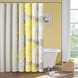 Madison Park Lola Baumwolle Vorhang für die Dusche Farbe, Grau/Gelb, 168x 183cm