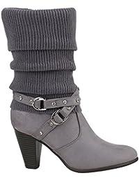Damen Klassische Schnalle Stiefel Stulpen Stiefeletten High Heels (34 As, Grey) RAZAMAZA