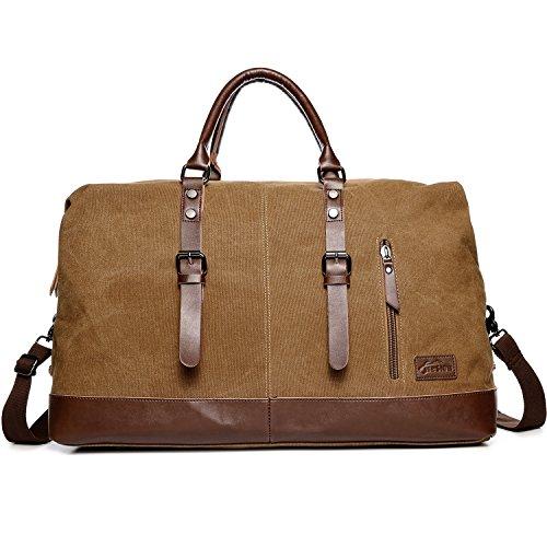 Fresion Vintage Segeltuch Holdall Canvas PU Leder Reisetasche Damen Unisex Handgepäck Sporttasche Weekender Tasche für Reise Wochenend Urlaub Arbeitstasche (Kaffee)