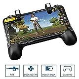 OXOQO PUBG Mobile Gamecontroller Gamepad, 4-in-1-Telefon-Joysticks L1R1-Schaltflächen Shoot & Aim-Trigger mit Lüfter & Power Bank für PUBG/Messer-Out/Überlebensregeln/Critical Ops