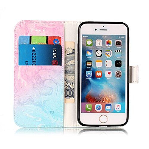 iPhone 7 Coque, Voguecase Étui en cuir synthétique chic avec fonction support pratique pour Apple iPhone 7 4.7 (marbre-rose or)de Gratuit stylet l'écran aléatoire universelle marbre-bleu pink