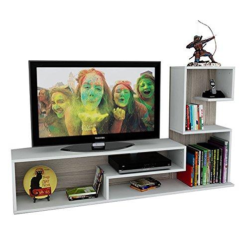 Wohnwand DUCHESS – Weiß / Avola – TV Lowboard mit Regale / Wandboard in modernem Design - 3