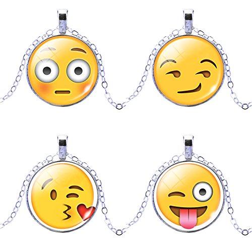 Frauen 4 Pack Gesicht Emoticon Muster Choker Halskette Beliebte Chat Emoji Halskette Zubehör (Stimmung Ring Und Halskette)