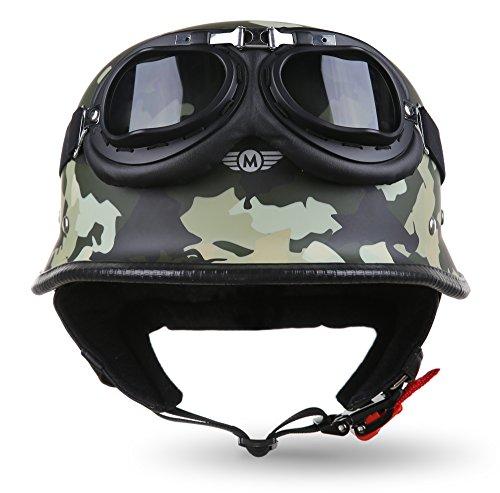 "MOTO · D33-Set ""Army Woods"" (Grün) · Jet-Helm · Roller Bobber Chopper Mofa Scooter-Helm Motorrad-Helm · M (57-58cm)"