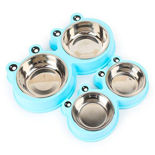 UMALL Fit+fun Schlichter Melamin-Doppelnapf mit integrierten Edelstahlnäpfen Hundenapf Katzennapf Futternapf Wassernapf Hochwertige Schüssel Welpennapf (Durchmesser 27.5cm, Blue)