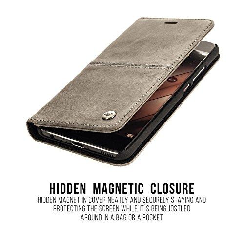 QIOTTI >            Apple iPhone 5 / 5S / SE            < incl. PANZERGLAS H9 HD+ Geschenbox Booklet Wallet Case Hülle Premium Tasche aus echtem vegetabil gegerbtes Kalbsleder mit Kartenfächer in LILA. Edel verpackt incl.  GRAU