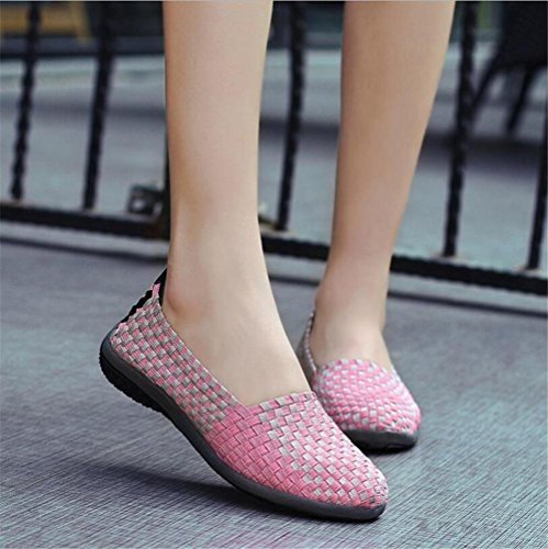 LDMB Damen Casual Schuhe Herren Stricken Schuhe Mama Schuh rose red