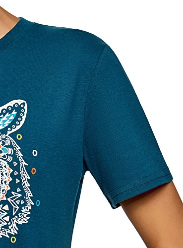 oodji Ultra Damen Gerades Jersey-Kleid Blau (7419P)