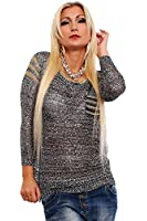 10194 Fashion4Young Damen Transparenter Langarm-Pullover Long Pulli verfügbar in 3 Farben Gr. 36/38