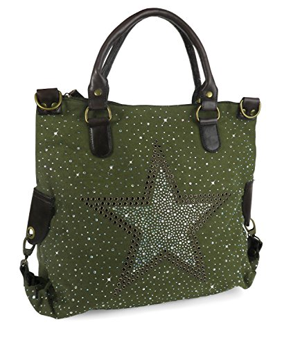 Canvas Sterne Handtasche Shopper Strass Grau Military