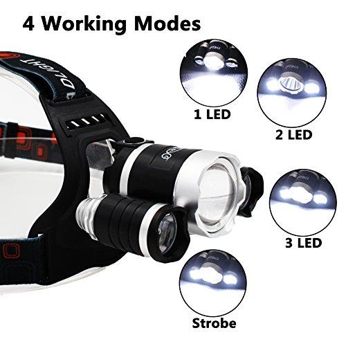 EMIDO Linterna Frontal LED Linterna de cabeza 6000 Lúmenes y 4 Modos de Luz Para Foco Impermeable Ajustable con Cable de Carga USB para Exterior Camping Aire Libre Caza Pesca Luz de Emergencia