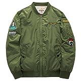 BicRad Herren Übergansjacke Blouson Jacket Wasserdicht Bomberjacke Gesteppt mit Patches (XXL(Brust:134CM/Schulter:56,8CM), Olivgrün)