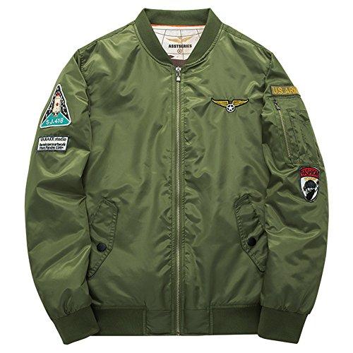 BicRad Herren Übergansjacke Blouson Jacket Wasserdicht Bomberjacke Gesteppt mit Patches (XXL(Brust:134CM / Schulter:56,8CM), Olivgrün)